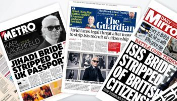 Today's international newspapers front-pages announcing the death of Karl Lagerfeld