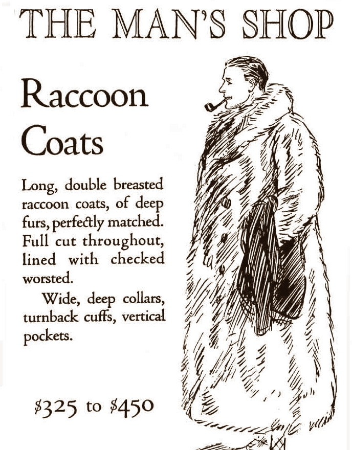 An advertisement from 1921 which advertises fur coats for $325 to $450