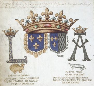 Coat of Arms of French king Louis XII and  queen Anne de Bretagne
