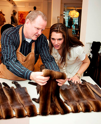 Brooke Shields getting a lesson on fur design as she works with furrier to make a custom fur coat