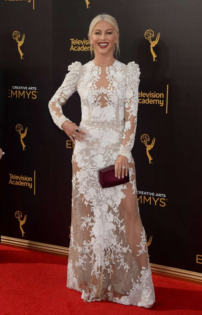 Julianne Hough at the Creative Arts Emmy Awards in 2016 wearing a dress by Monique Lhuillier