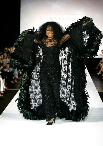 Diana Ross owns the catwalk during a Dennis Basso fashion show