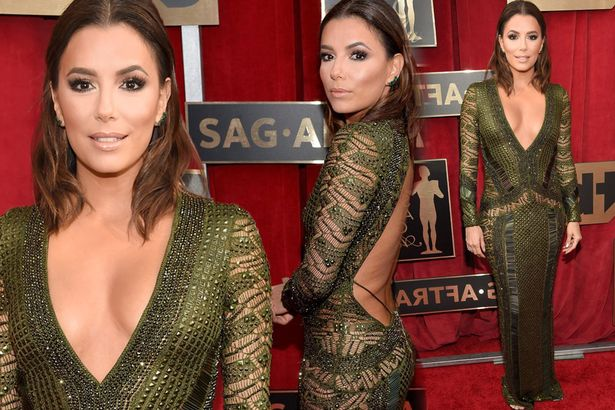 Eva Longoria is stunning in plunging beaded dress as she takes centre stage on the 2016 SAG red carpet