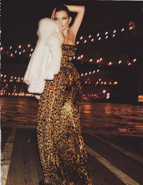 Kate Moss in a Dolce & Gabbana leopard print dress photographed by Mario Testino in 2013