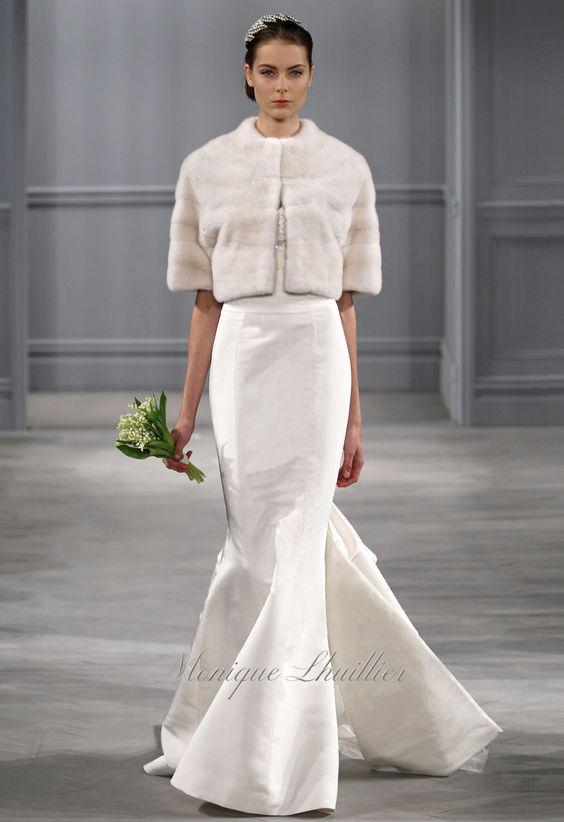 "Monique Lhuillier ""Estelle"" strapless corset and trumpet skirt with mink bolero | Spring 2014"