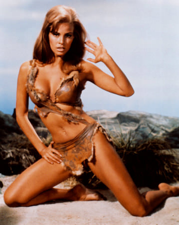 Raquel Welch in her famous pin-up from the movie 1million B.C.