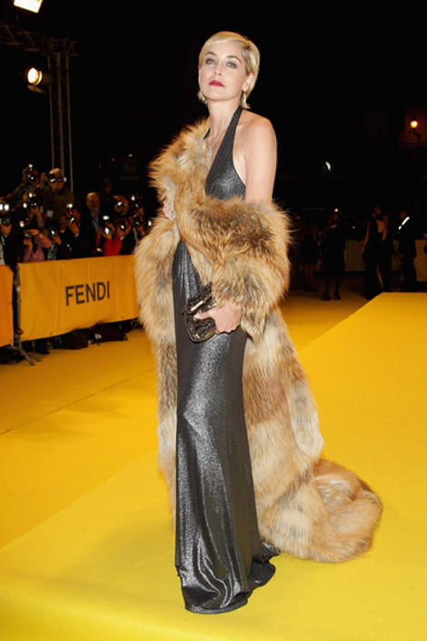 Sharon is known for making a dramatic enterance on the red carpet