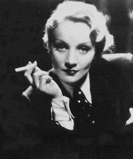 Marlene Dietrich in a men's suit