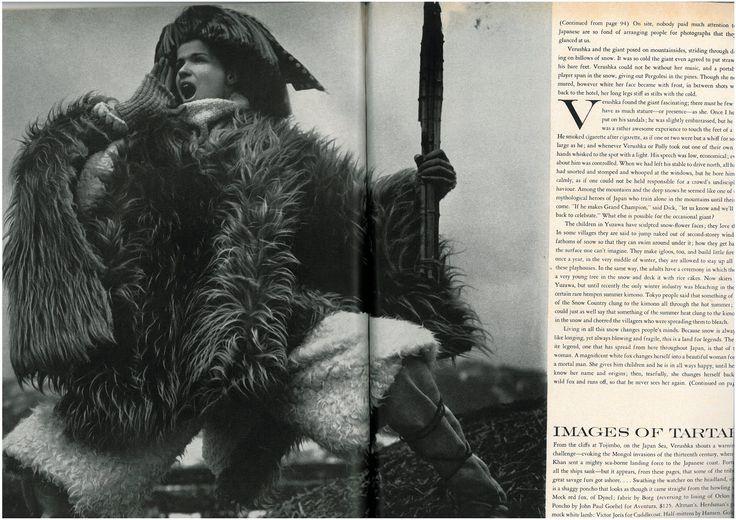"""The Great Fur Caravan,"" photographed by Richard Avedon, Vogue (October 1966)"